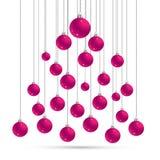 Jul och vykortwithballs för nytt år, kontur av julträdet Kort för vektorillustrationhälsning Symbol av ferie, Chr Royaltyfri Fotografi