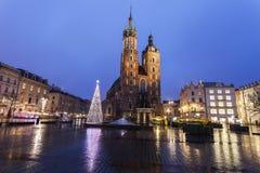 Jul på huvudsaklig fyrkant i Krakow royaltyfri fotografi
