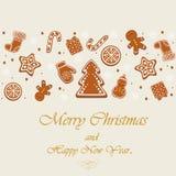 Jul pepparkaka, kakor Symboler av det nya året i form av ljust rödbrun kakor stock illustrationer