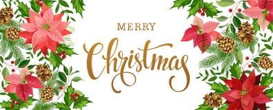 Jul planlägger sammansättning av julstjärnan, granfilialer, kottar, järnek och annan växter Räkning inbjudan, baner royaltyfri illustrationer