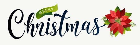 Jul planlägger sammansättning av julstjärnan, granfilialer, kottar, järnek och annan växter Räkning inbjudan, banerlateral, greet royaltyfri illustrationer