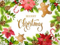 Jul planlägger sammansättning av julstjärnan, granfilialer, kottar, pepparkakan, godisrottingen, järnek och annan växter Räkning  vektor illustrationer