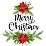 Jul planlägger sammansättningskransen av den röda julstjärnan och sidor vektor illustrationer
