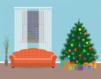 Jul planlägger vardagsruminre med julträdet och högen av gåvor Ferie för Xmas och för nytt år familj stock illustrationer