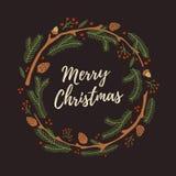 Jul räcker den utdragna kransen med kottar Arkivbild