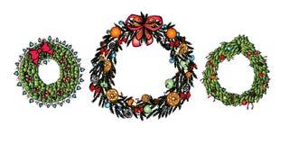 Jul räcker den utdragna kransuppsättningen - modell också vektor för coreldrawillustration royaltyfri illustrationer