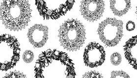 Jul räcker den utdragna kransuppsättningen - modell också vektor för coreldrawillustration vektor illustrationer