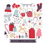 Jul räcker den utdragna samlingen med feriebeståndsdelar royaltyfri foto
