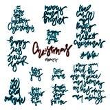 Jul räcker utdragen bokstäver Stock Illustrationer