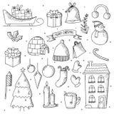 Jul räcker utdragna klotterbeståndsdelar Gulliga handgjorda knapphändiga vinterklotter vektor illustrationer