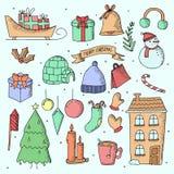 Jul räcker utdragna klotterbeståndsdelar Gulliga handgjorda knapphändiga vinterklotter stock illustrationer