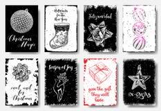 Jul räcker utdragna kort med julbollen, sockor för sötsaker vektor illustrationer