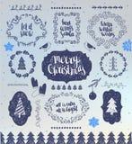 Jul räcker utdragna vektordesignbeståndsdelar Typografiska beståndsdelar, symboler, symboler, tappning märker, emblem, ramar royaltyfri illustrationer