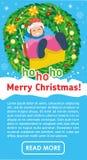 Jul sänker banret Lycklig flicka på gunga i vinter stock illustrationer