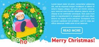 Jul sänker banret Lycklig flicka på gunga i vinter vektor illustrationer