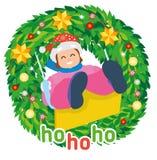 Jul sänker banret Lycklig flicka på gunga i vinter royaltyfri illustrationer