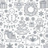 Jul sömlös modell för nytt år, linje illustration Vektorsymboler av trädet för jul för vinterferier, gåvor, bokstav Arkivfoton