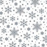 Jul sömlös modell för nytt år, snöflingalinje illustration Vektorsymboler av vinterferier, kall säsongsnö Royaltyfria Bilder