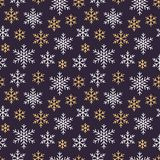 Jul sömlös modell för nytt år, snöflingalinje illustration Vektorsymboler av vinterferier, kall säsongsnö Arkivfoton