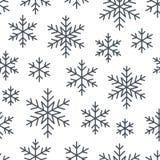 Jul sömlös modell för nytt år, snöflingalinje illustration Vektorsymboler av vinterferier, kall säsongsnö vektor illustrationer