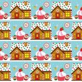 Jul sömlösa Santa Claus och kaka Royaltyfria Bilder