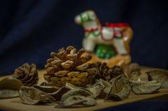 Jul sörjer kottar på ett bräde Royaltyfri Bild