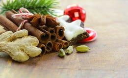 Jul sammansättning, kryddor och kakor royaltyfria foton