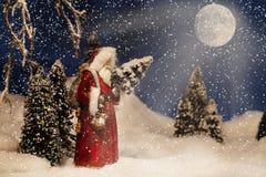 Jul Santa Claus Full Moon Arkivbilder
