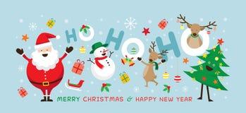 Jul Santa Claus Laugh Ho Ho Ho med vänner Vektor Illustrationer