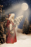 Jul Santa Claus Nightime Arkivbild
