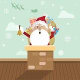 Jul Santa Claus och lampglas Arkivfoto