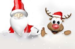 Jul Santa Claus och ren Arkivbild