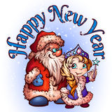 Jul Santa Claus och Snö-jungfru vektor Arkivbilder