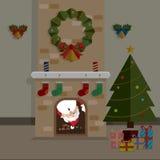 Jul Santa Claus och spisrum Arkivfoto