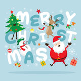 Jul, Santa Claus och vänner med bokstäver Vektor Illustrationer