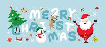 Jul, Santa Claus och vänner med bokstäver Stock Illustrationer