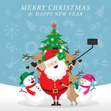 Jul, Santa Claus och vänner Selfie Stock Illustrationer