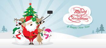 Jul, Santa Claus och vänner Selfie, snöplats Stock Illustrationer