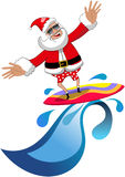 Jul Santa Claus Surfing Tropical Sea Isolated Arkivfoto