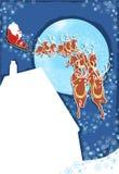 Jul Santa och renSleigh Arkivbild