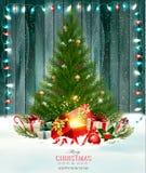 Jul semestrar bakgrund med ett grönt träd och en magisk ask Royaltyfri Bild