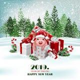 Jul semestrar bakgrund med gåvor och det gulliga svinet vektor stock illustrationer