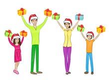Jul semestrar den lyckliga familjen lyftta handarmar Royaltyfri Bild