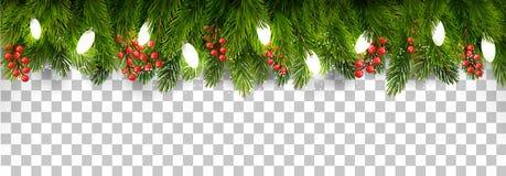 Jul semestrar garnering med filialer av träd- och girlandnollan vektor illustrationer