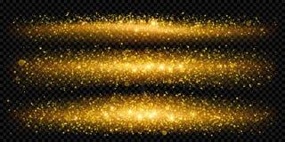 Jul semestrar guld- blänker bakgrundsmallen av mousserande guld- partiklar stock illustrationer
