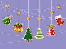 Jul semestrar klänningsamlingen av symboler, lyckligt nytt år Arkivbilder