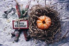 Jul skidar garnering för mandarinträdet arkivfoton