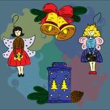 Jul skissar klockor, änglar, feer, lykta stock illustrationer