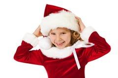 Jul: Skratta lilla Santa Girl arkivfoto