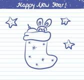 Jul slår illustrationen för det nya året - skissa på skolaanteckningsboken Arkivfoton